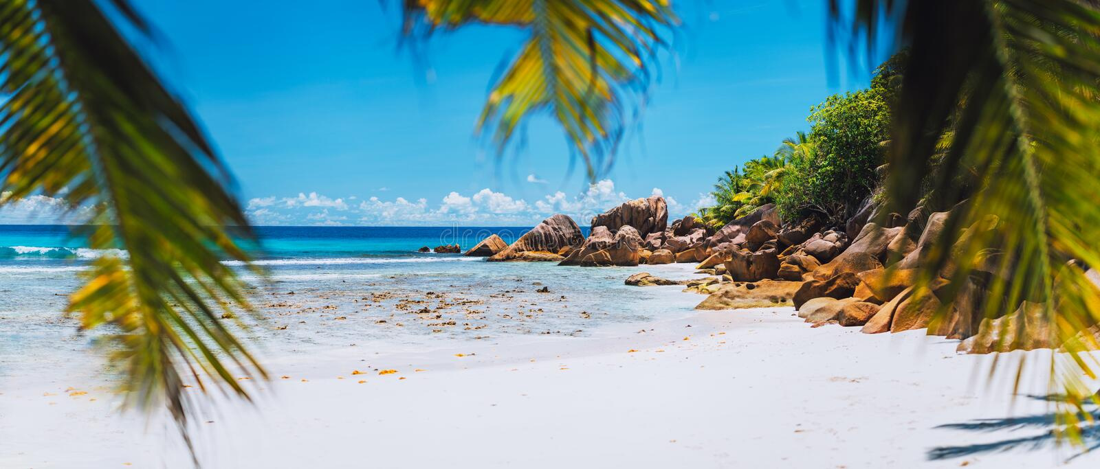 Tropical white sand beach on paradise island. Exotic Summer vacation travel relaxation holiday background concept stock photos