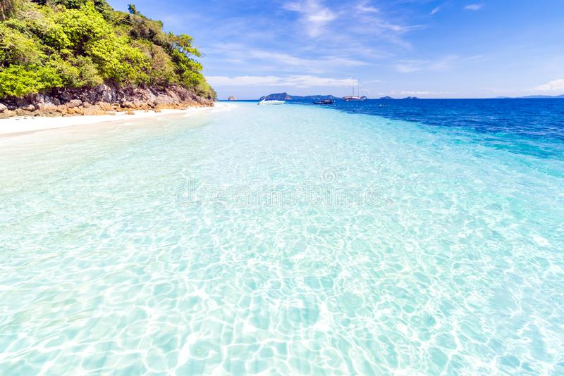 Tropical white sand beach stock images