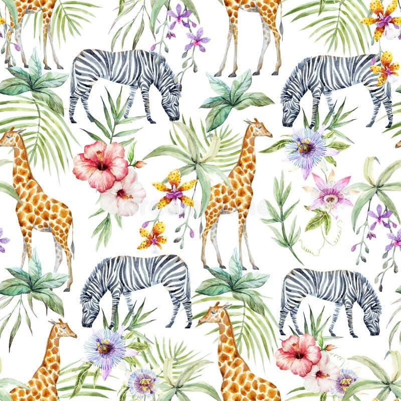 Tropical wildlife pattern stock illustration
