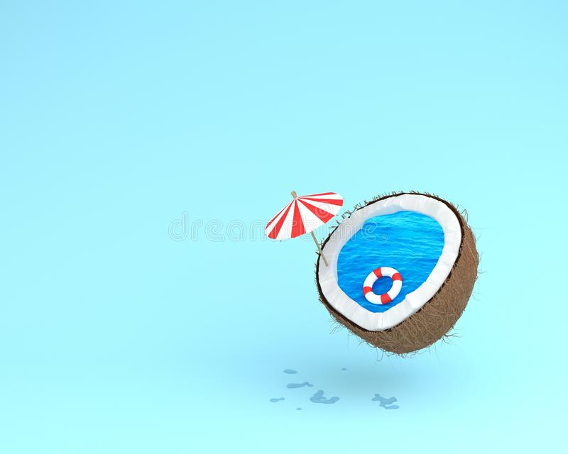 Tropicale il concetto della spiaggia fatto della noce di cocco con il galleggiante dello stagno e la s fotografie stock libere da diritti