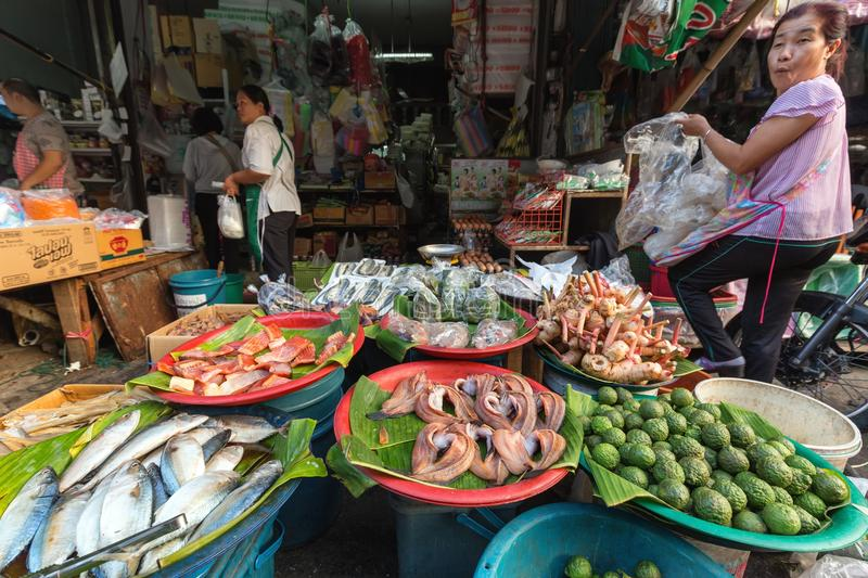 Tropicals fruits in Thai market stock images