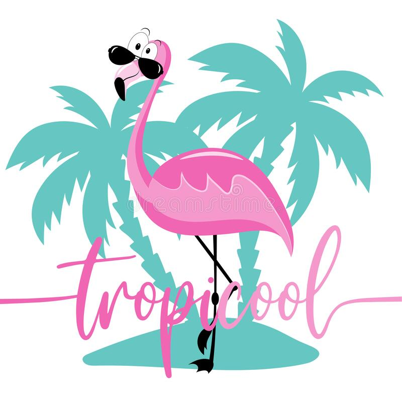 Free TropiCool- Funny Slogan With Flaming On Island. Stock Photography - 219838702
