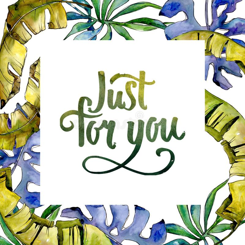 Tropics leaves frame in a watercolor style. stock illustration