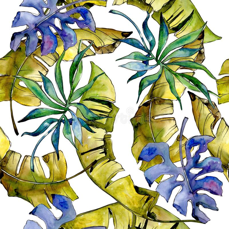 Tropics leaves pattern in a watercolor style. stock illustration