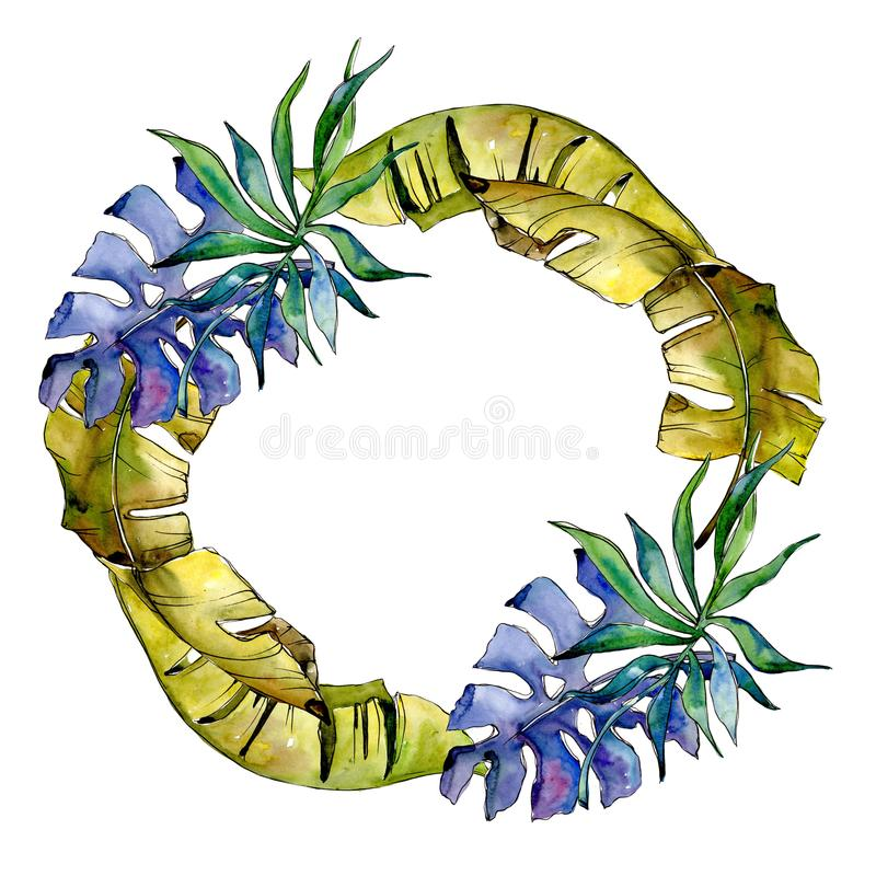 Tropics leaves wreath in a watercolor style. royalty free illustration