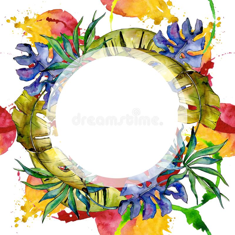 Tropics leaves wreath in a watercolor style. vector illustration