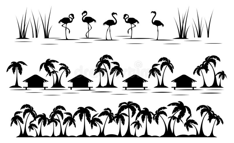Tropics. Palm tree, bungalow and flamingo. Horizontal tropical borders. Black silhouette. Isolation. Vector royalty free illustration