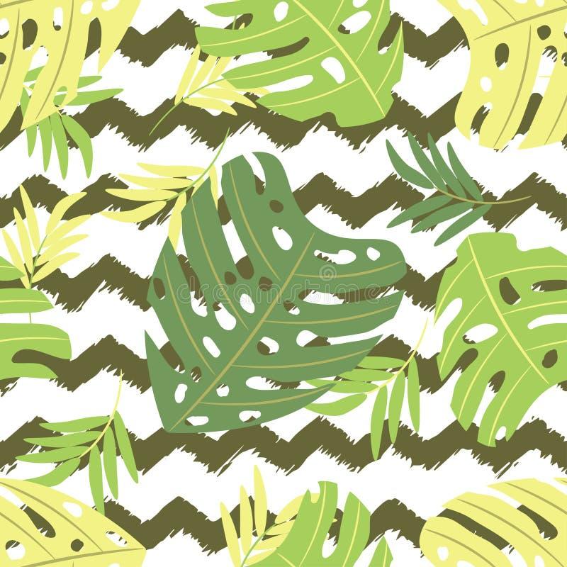 Tropik Monstera sae nos naturaltones A ilustra??o sem emenda do vetor, linhas fundo do ziguezague de ? fundo desenhado ? m?o da e ilustração do vetor