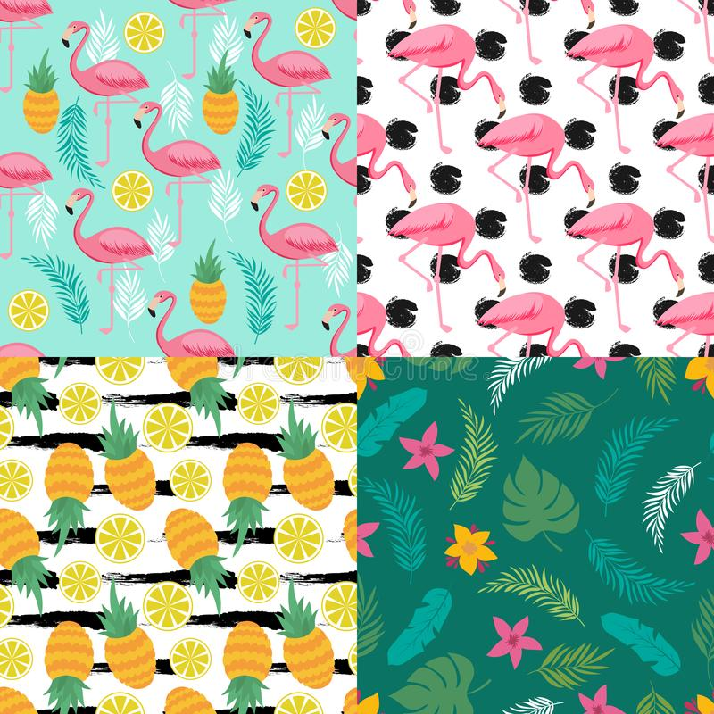 Tropikalna bezszwowa deseniowa kolekcja z egzotycznymi owoc, flamingiem i roślinami, ilustracji