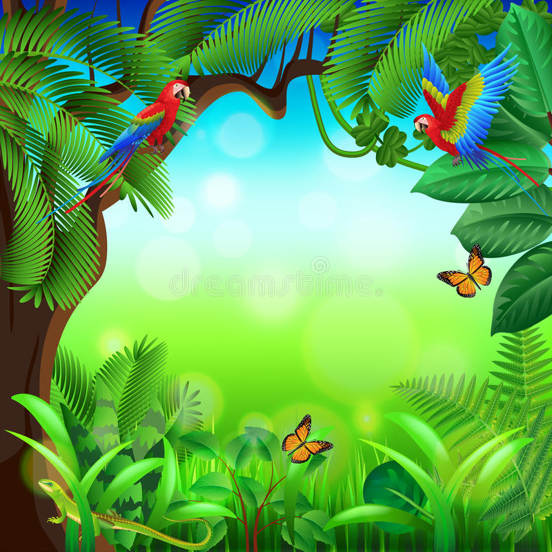 Tropikalna dżungla z zwierzę wektoru tłem ilustracja wektor