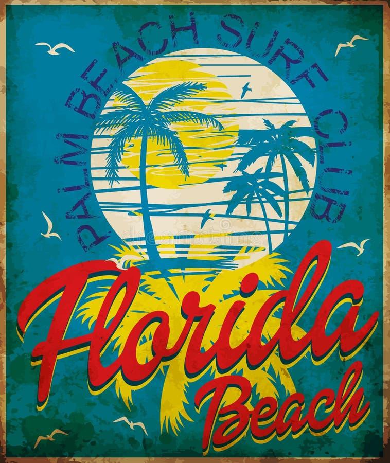 Tropikalna grafika z typografia projekta Florida plaży kipieli klubem ilustracja wektor
