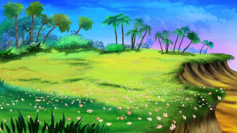 Tropikalna halizna i urwisko ilustracji