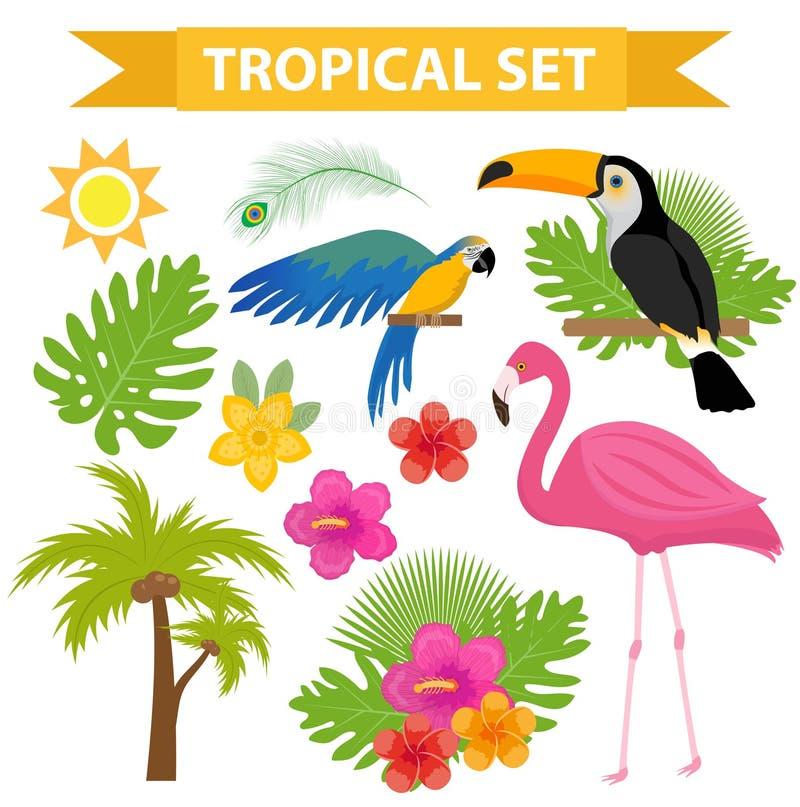Tropikalna ikona ustawiająca z ptakami i kwiatami, mieszkanie, kreskówka styl Egzotyczna kolekcja projektów elementy z pieprzojad ilustracji
