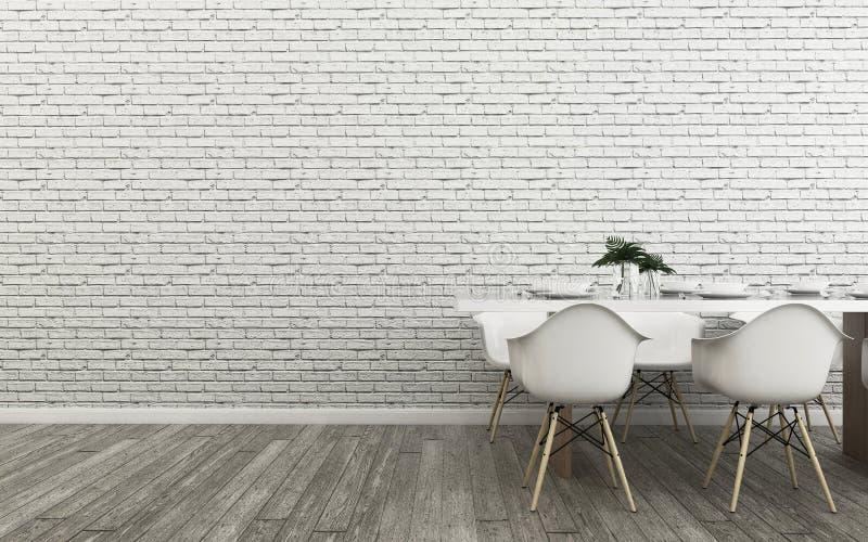 Tropikalna jadalnia Tam jest rocznika wizerunku stylowego bielu pusty ściana i drewna podłoga ilustracji