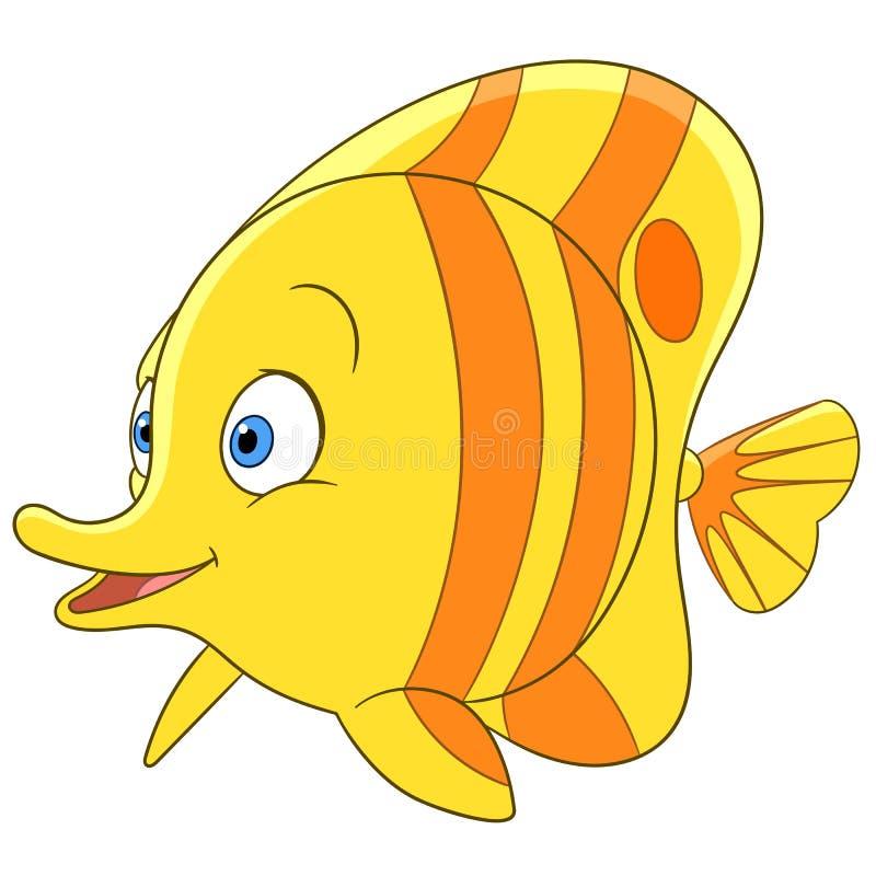 Tropikalna kreskówka motyla ryba ilustracji
