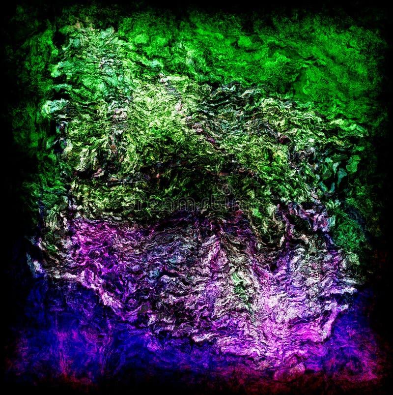 Tropikalna kształtów, kamienia i kwiatu trawa, mieszanych jaskrawych fala ziemscy kolory, zdjęcie royalty free