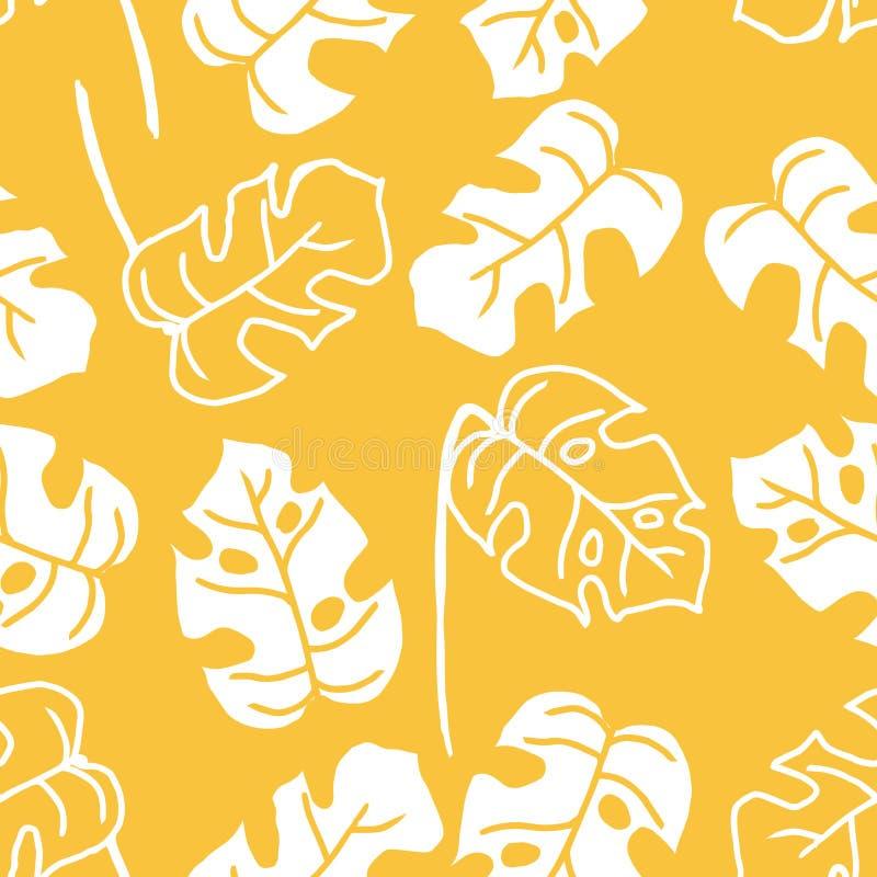 Tropikalna palmowa liścia monstera ręka rysująca w białych liniach na pomarańczowym tle Bezszwowy wzór dżungli rośliny w prostym  ilustracja wektor