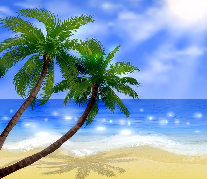 Tropikalna plaża ilustracji