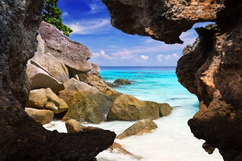 Tropikalna plażowa sceneria przy Andaman morzem obrazy royalty free