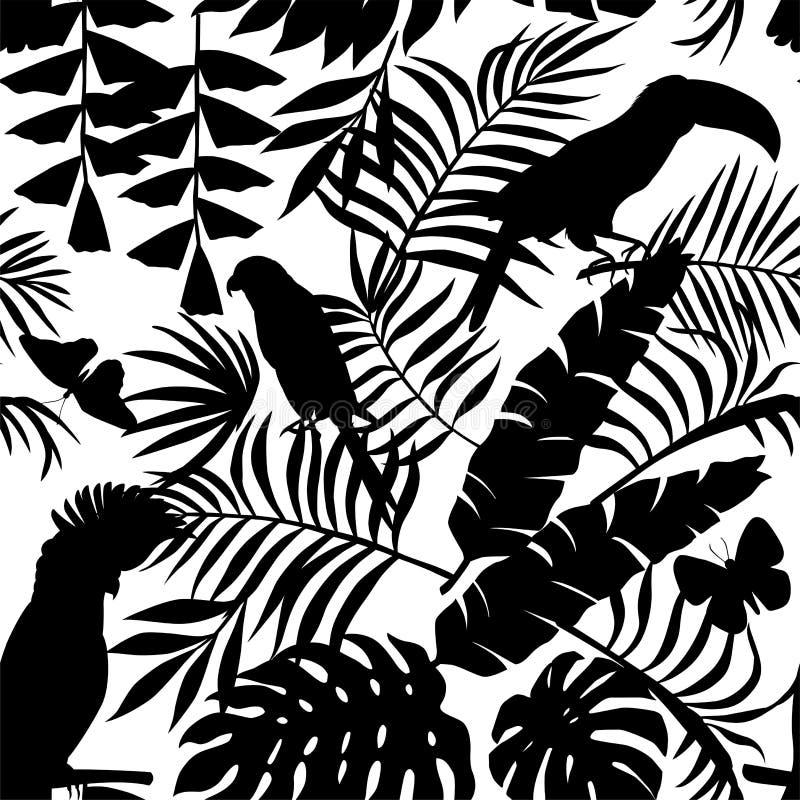 Tropikalna ptaków, motyli i palma liści sylwetka bezszwowa, ilustracji