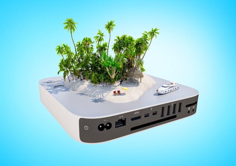 Tropikalna raj wyspa z piaskiem, palmy, biurek krzesła i jacht na TV, boksujemy ilustracja wektor