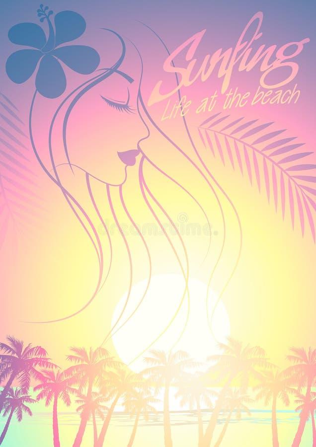 Tropikalna surfing plaży dziewczyna z drzewkami palmowymi przy zmierzchem ilustracja wektor