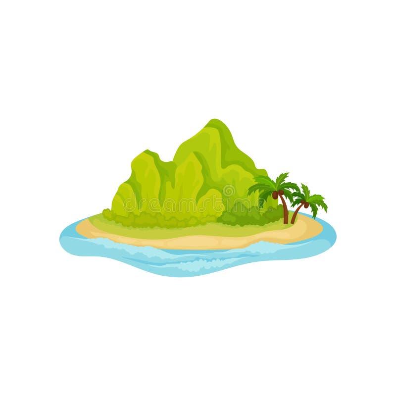 Tropikalna wyspa otaczająca wodą E naturalnego krajobrazu Płaski wektorowy projekt ilustracji