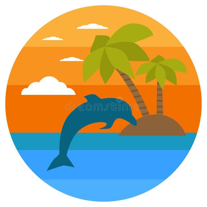 Tropikalna wyspa, palmy, delfin Lato sztandary z morskimi symbolami również zwrócić corel ilustracji wektora Tropikalny zmierzch  ilustracja wektor