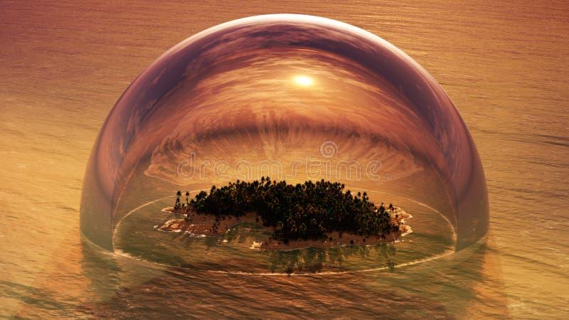 Tropikalna wyspa Wśrodku Przyrodniej Szklanej kopuły ilustracji