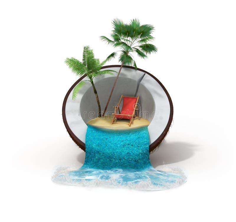 Tropikalna wyspa w kokosowym Podróżnym pojęciu 3d odpłaca się na bielu royalty ilustracja