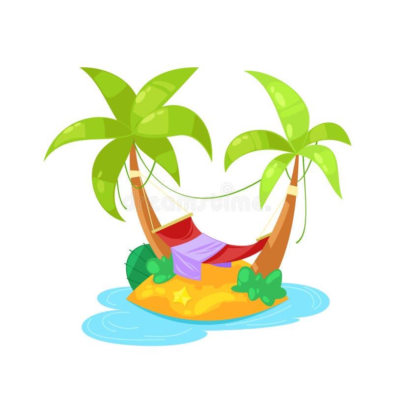 Tropikalna wyspa w oceanie z palmą, plaża pod parasolem, sunbed ilustracji