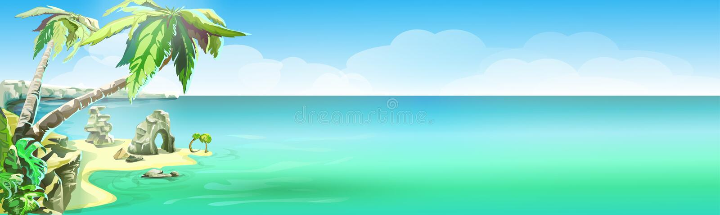 Tropikalna wyspa, wektorowy tło, plakatowy projekt ilustracji