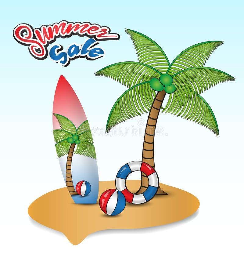 Tropikalna wyspa z kokosowymi drzewami, kipieli deską, pływanie pierścionkami i plażowej piłki wektorową ilustracją, ikona projek ilustracja wektor