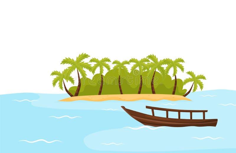 Tropikalna wyspa z piaskiem, drzewka palmowe i łódź w błękitnym oceanie naturalnego krajobrazu zielone pola niebieskiego nieba sc ilustracja wektor
