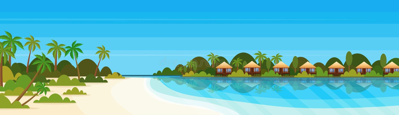 Tropikalna wyspa z willa bungalowu hotelem na plażowych nadmorski zieleni palmach kształtuje teren wakacje pojęcia mieszkanie ilustracja wektor