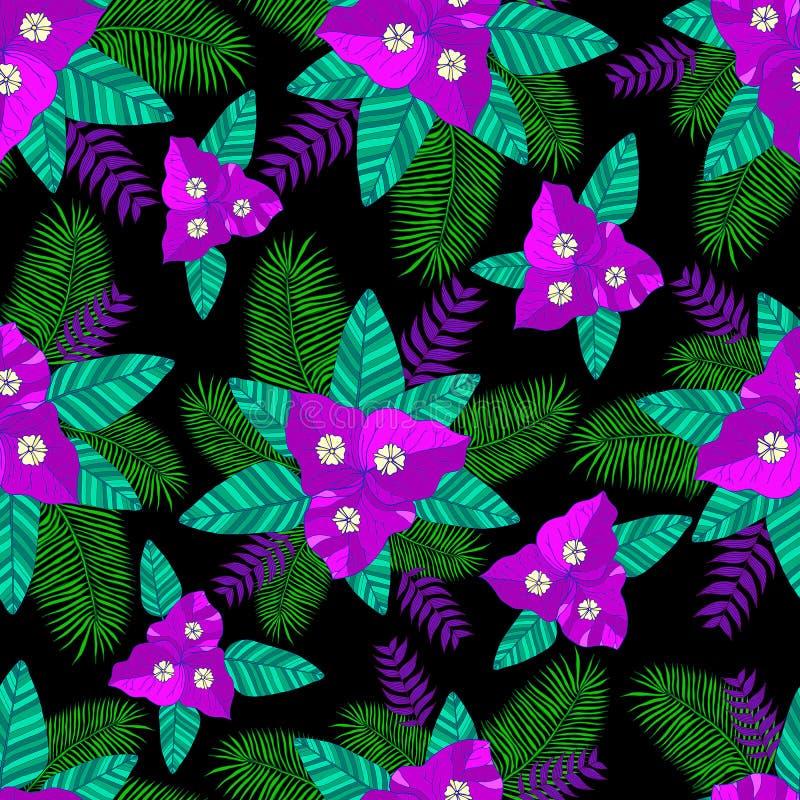 Tropikalne liść palmy, kwiatu bougainvillea wzoru bezszwowy bac ilustracja wektor
