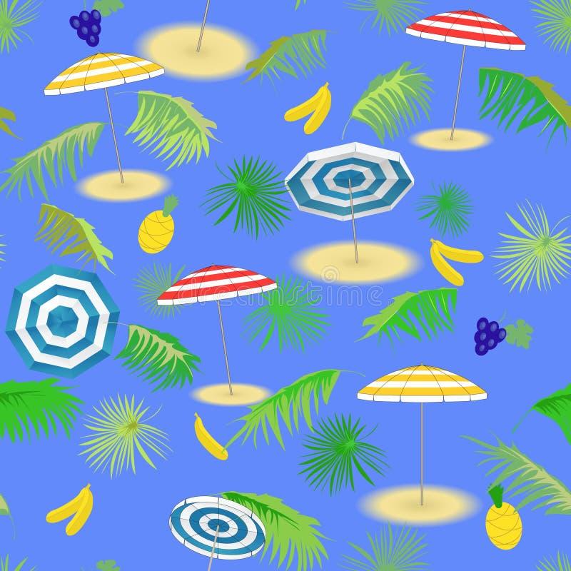 Tropikalne owoc, seascape z palma liśćmi i plażowi parasole, bezszwowy wzoru ilustracji