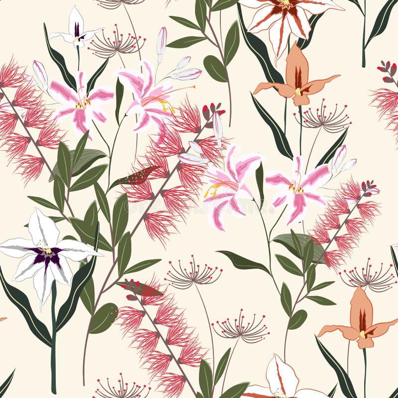 Tropikalne rośliny, królewskie leluje, egzotyczni orchidea kwiaty i liścia bezszwowy wzór na jasnożółtym tle, ilustracja wektor