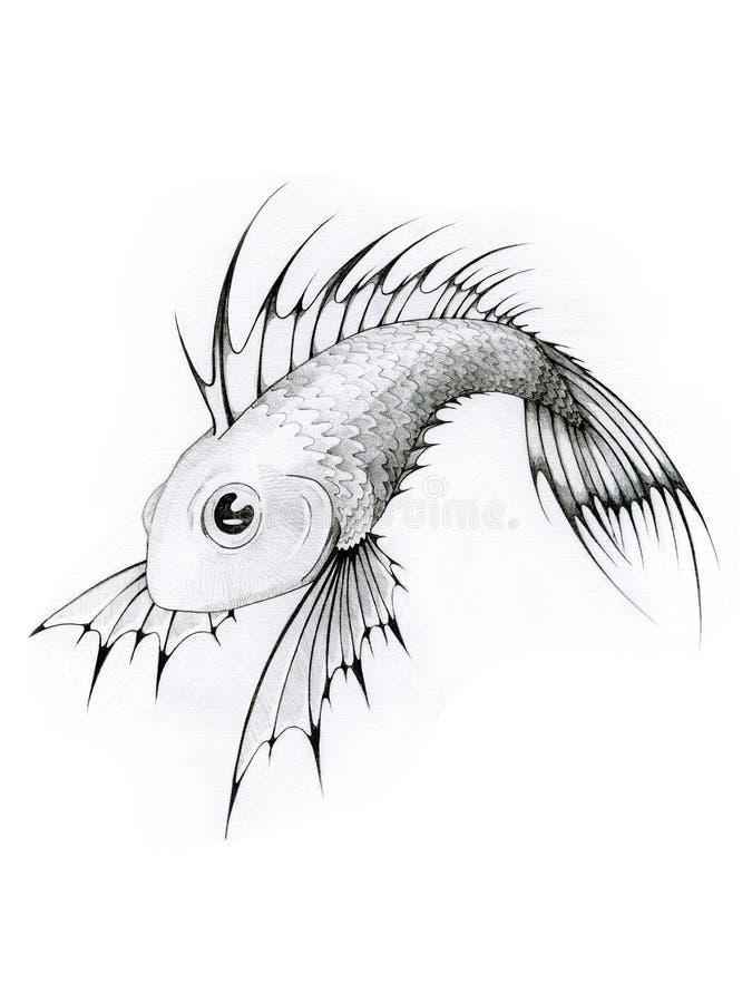 tropikalne ryby białe czarne ilustracji