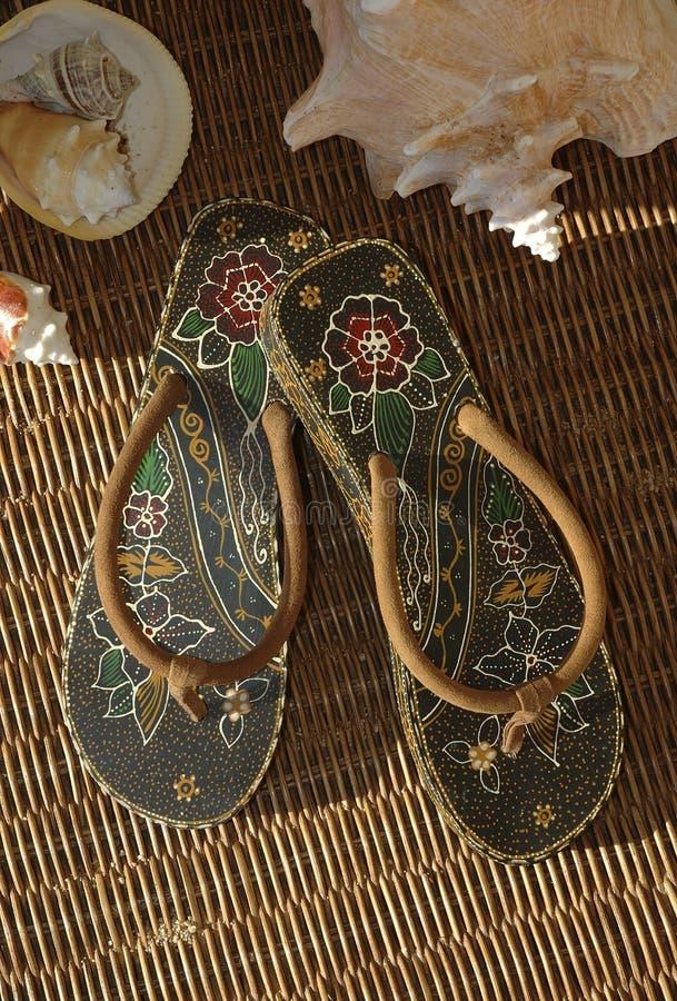 Tropikalne Sandały Fotografia Royalty Free