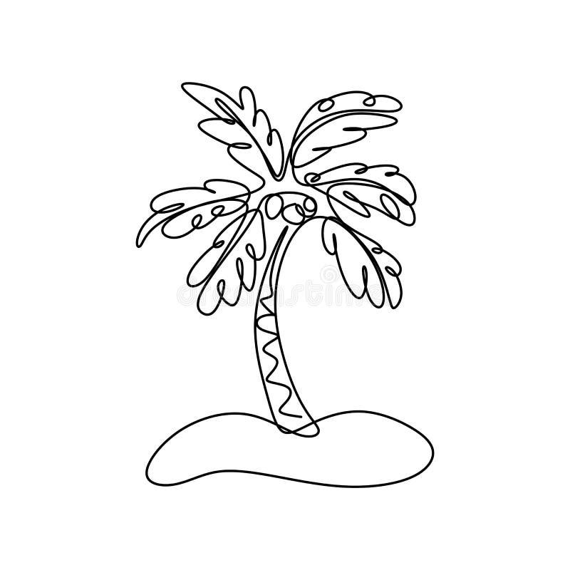 Tropikalnego drzewka palmowego ciągły kreskowy rysunek ilustracji