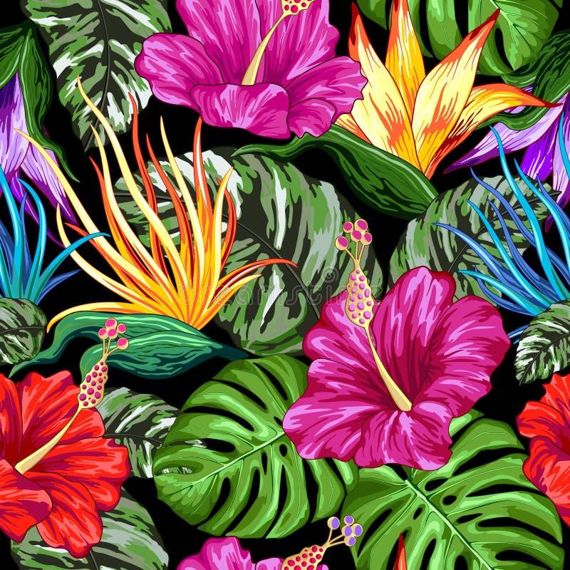 Tropikalnego flory lata Trybowy Bezszwowy Deseniowy Wektorowy Tekstylny projekt ilustracji