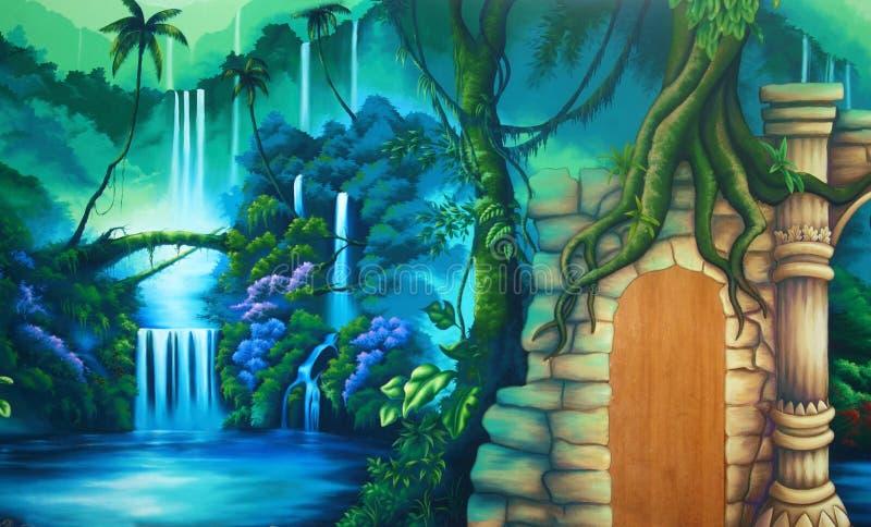 Tropikalnego lasu deszczowego tło ilustracja wektor