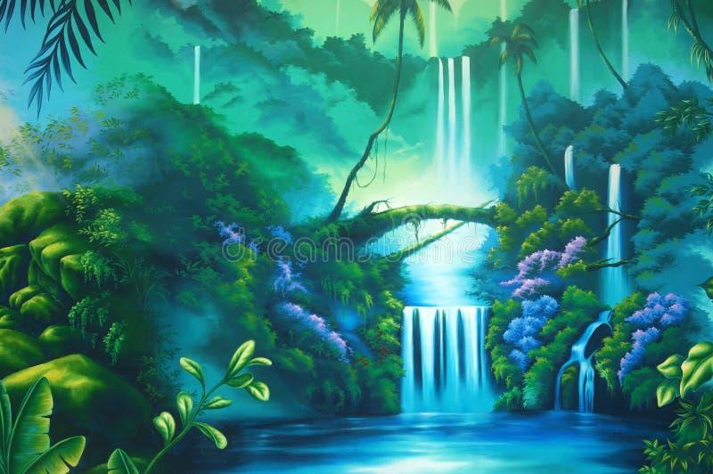 Tropikalnego lasu deszczowego tło ilustracji