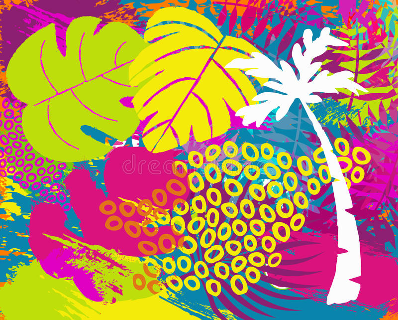 Tropikalnego lato dżungli rośliny liścia abstrakcjonistyczna sztuka ilustracja wektor