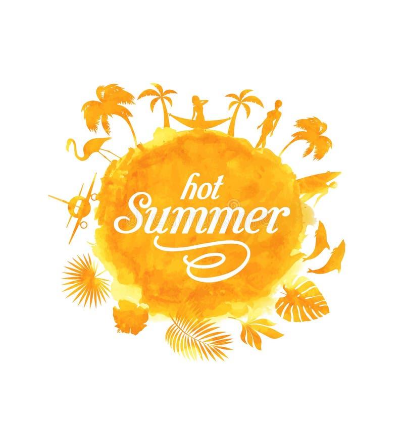 Tropikalnego lato plaży przyjęcia plakatowy projekt Ilustracja drzewka palmowe z halftone skutkiem na pasiastym kolorowym zmierzc ilustracji