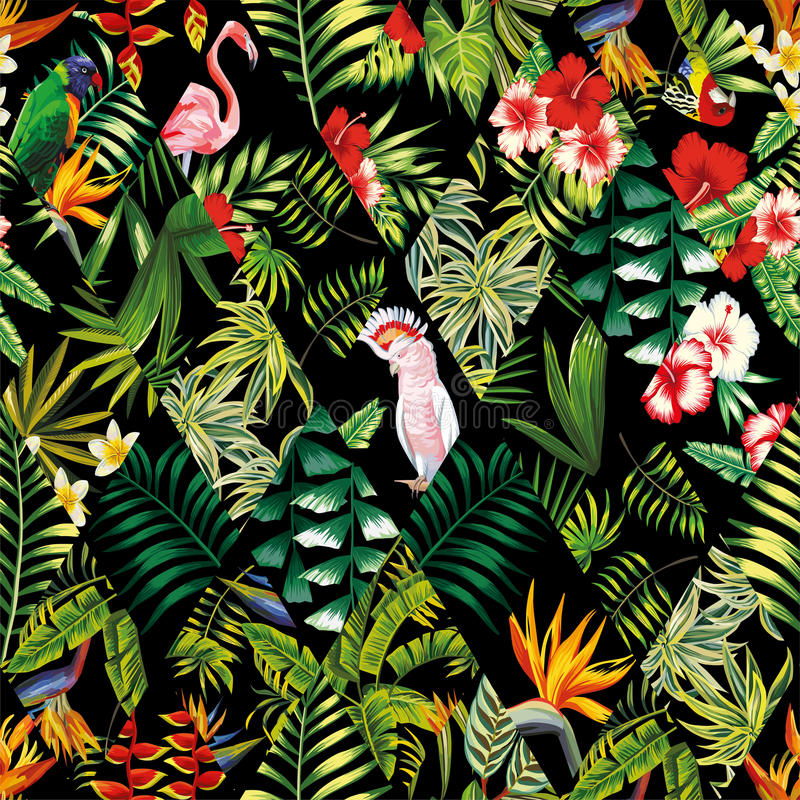 Tropikalnego patchworku bezszwowy deseniowy czerń royalty ilustracja