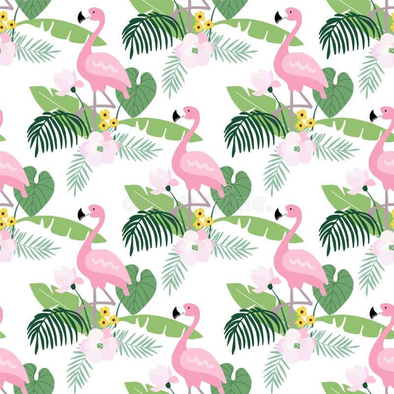 Tropikalnej dżungli bezszwowy wzór z flaminga ptakiem, palma liśćmi i kwiatami, magnoliowymi lub lotosowymi Płaski projekt, wekto ilustracja wektor