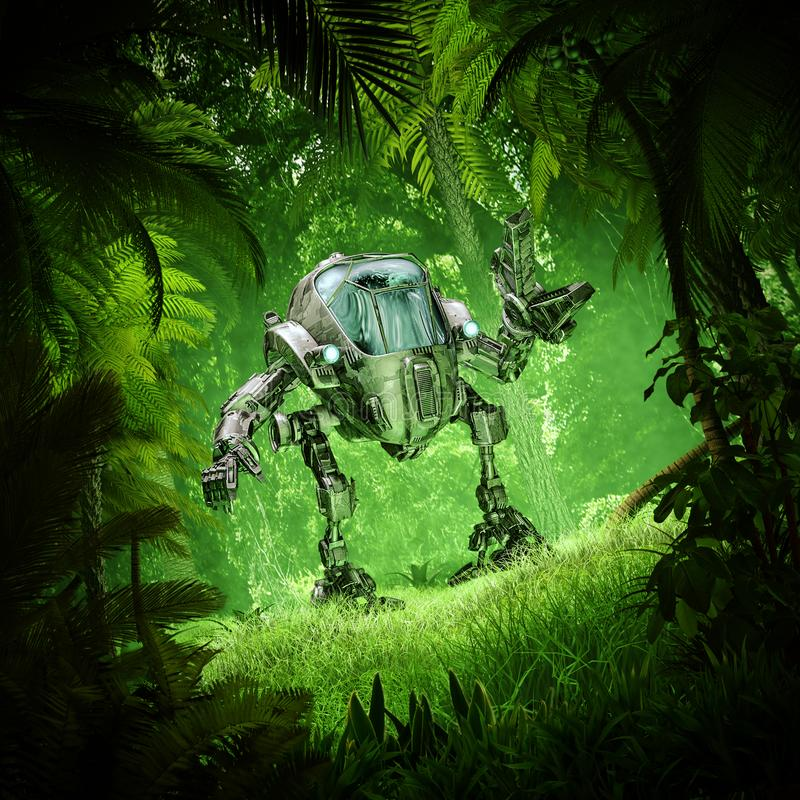 Tropikalnej dżungli mech robot ilustracja wektor