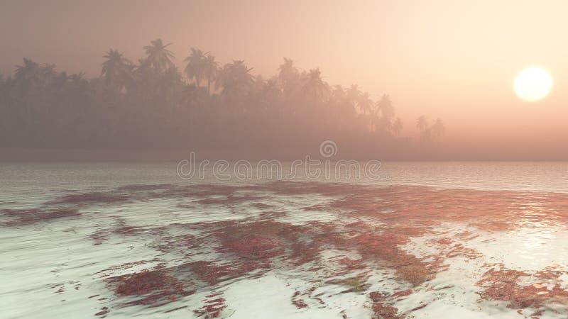 Tropikalnej wyspy Gorący zmierzch royalty ilustracja